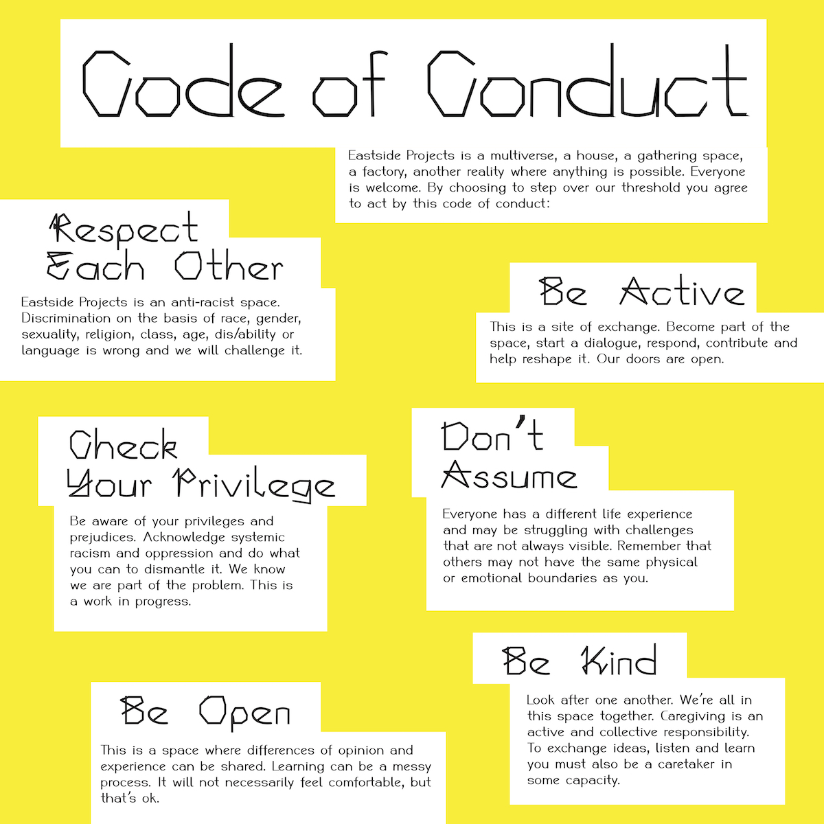 Image of Eastside Projects code of conduct in black text against a bright yellow background.